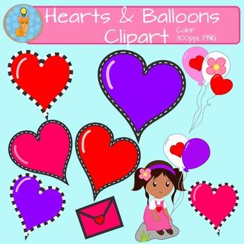 Hearts & Balloons Clipart FREEBIE