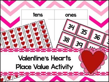 Hearts Base Ten Place Value Activity. Kindergarten-2nd Grade Math.