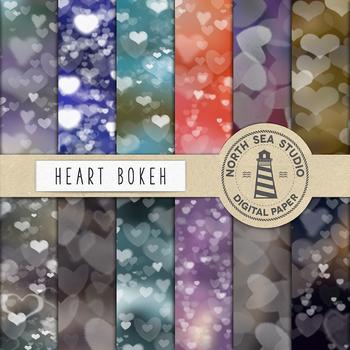 Hearts Bokeh Digital Paper, Blurry Patterns, Bokeh Lights, Sparkle Light