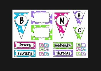 Hearts Bundle (lunch, calendar, subject pennants, word wall letters, and more!)