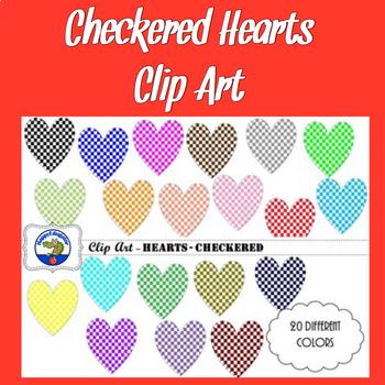 Hearts - Checkered - Clip Art