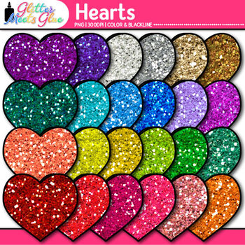 Valentine Heart Clip Art {Rainbow Glitter Graphics for Wor