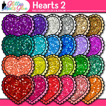 Valentine Heart Clip Art {Rainbow Glitter Graphics for Worksheets & Resources} 2