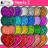 Valentine Heart Clip Art {Rainbow Glitter Graphics for Wor