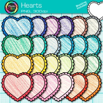 Valentine Heart Clip Art {Rainbow Crayon Graphics for Worksheets & Resources}
