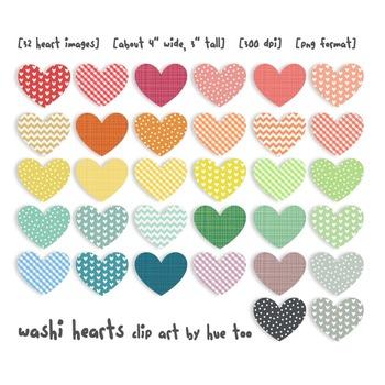 Hearts Clip Art, Rainbow Colored Hearts, Valentine's Day Clip Art
