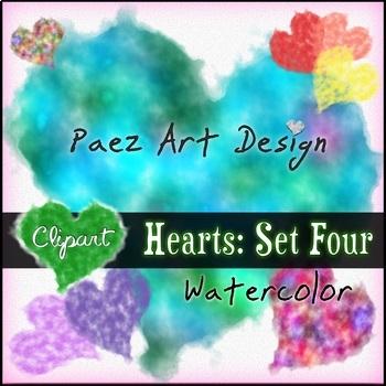 Hearts Clipart: Set Four- Watercolor {Paez Art Design}