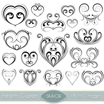 Hearts Clipart Tattoo Tribal Heart Clip Art Swirl Scrapbooking Wedding Valentine