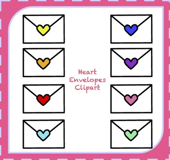 Hearts Clipart / Valentine's Day Clipart / Hearts Envelope Clipart