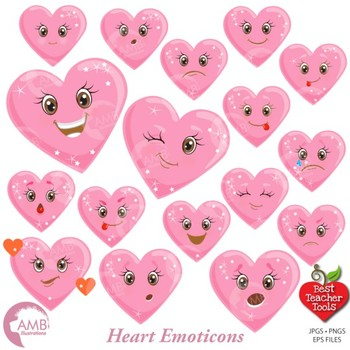 Hearts Clipart, Valentines Clipart, Emoticons, Emoji {Best Teach Tools} AMB-1172