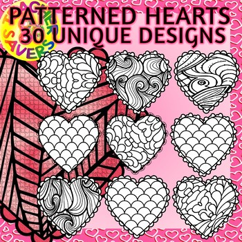 Hearts Coloring Clip Art Set Commercial and Personal Use