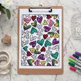 "Hearts Coloring Page | Printable 8.5x11"" PDF adult coloring page"
