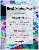 """Hearts Coloring Page (With and Without Numbers) 2 Sizes (8.5"""" x 11"""" & 11"""" x 17"""")"""
