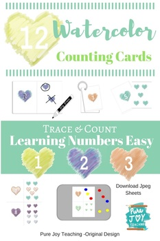 Hearts Counting Cards, Trace & Count, Watercolor Heart Design 1-12