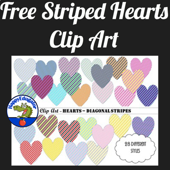 Hearts - Diagonal Stripes - Clip Art
