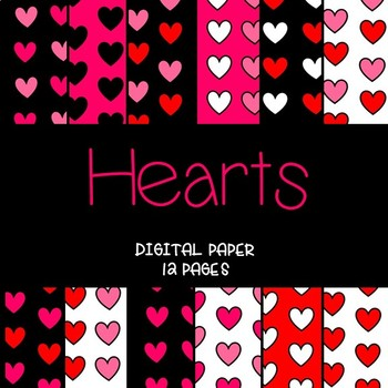 Hearts Digital Paper (Valentines Day Colors)
