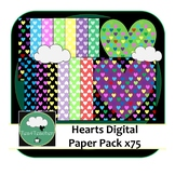 Hearts Digital Papers x75 - Colourful Range of Digital Hea