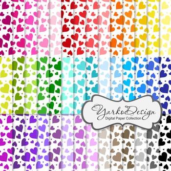 Hearts Digital Pattern Scrapbooking Paper Set, 42 Digital Papers