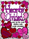 Hearts Divided ~ Division Math Color By The Code Puzzles For February