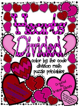 Hearts Divided ~ Division Math Color By The Code Puzzles F