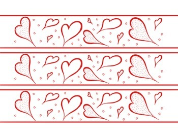 Hearts February Valentine's Day Bulletin Board Border Prin