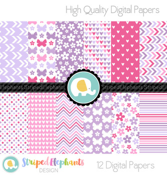 Hearts, Flowers and Butterflies Digital Papers Pink and Purple
