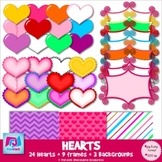 Hearts, Frames, & Background Paper Clip Art - Commercial & Personal Use