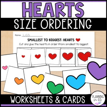 Hearts: From Smallest to Largest AND Size Ordering Cards