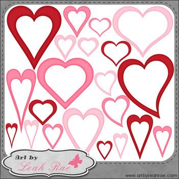 Hearts Galore 1 - Art by Leah Rae Clip Art & Line Art / Digital Stamps