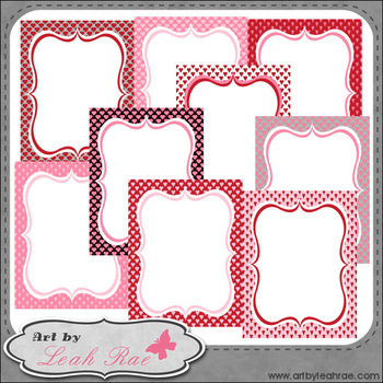 "Hearts Galore 2 - Art by Leah Rae 8.5"" x 11"" Starter Cover Pages & Frames"