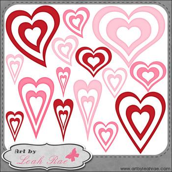 Hearts Galore 2 - Art by Leah Rae Clip Art & Line Art / Di