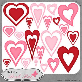 FREEBIE: Hearts Galore 3 - Art by Leah Rae Clip Art & B&W