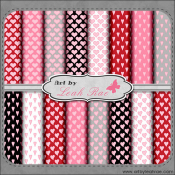 Hearts Galore 3 - Art by Leah Rae Digital Scrap Papers