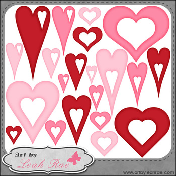 Hearts Galore 4 - Art by Leah Rae Clip Art & Line Art / Digital Stamps