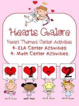 Hearts Galore- 4 Math & 4 ELA Heart Themed Center Activities