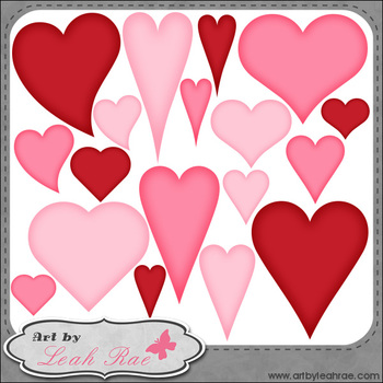 Hearts Galore 5 - Art by Leah Rae Clip Art & Line Art / Digital Stamps