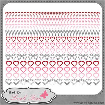 Hearts Galore Page Borders 1 - Art by Leah Rae Clip Art & Line Art / Digi Stamps