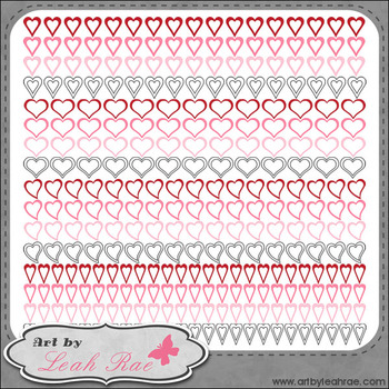 Hearts Galore Page Borders 1 - Art by Leah Rae Clip Art &