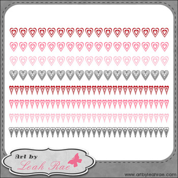 Hearts Galore Page Borders 2 - Art by Leah Rae Clip Art & Line Art / Digi Stamps