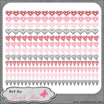 Hearts Galore Page Borders 2 - Art by Leah Rae Clip Art &