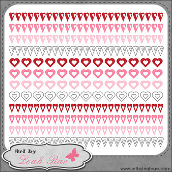 Hearts Galore Page Borders 4 - Art by Leah Rae Clip Art & Line Art / Digi Stamps