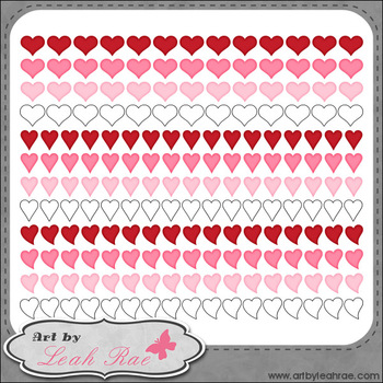 Hearts Galore Page Borders 5 - Art by Leah Rae Clip Art & Line Art / Digi Stamps