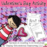 Valentine's Day Hearts Counting and Writing Numbers to 20 Math Worksheet Packet