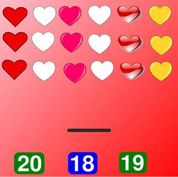 Hearts Number Match:  Counting to 20