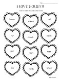 Hearts Parts of Speech - Nouns, Verbs and Adjectives Worksheet Pack - 4 sheets