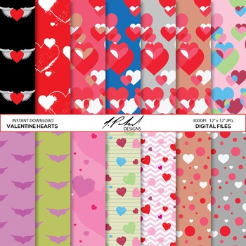 Hearts Patterns digital paper pack - hearts digital paper