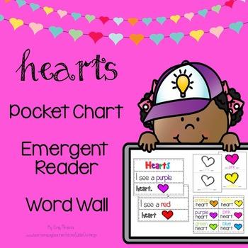 Hearts : Pocket Chart, Emergent Reader, Word Wall