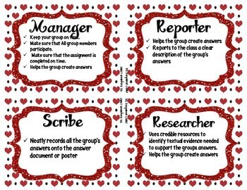 Hearts & Red & Black -- Editable Group Role Cards & Table Numbers 1-12