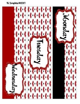 3-drawer Organizer Box Labels -- Hearts Red Black White