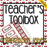 Hearts & Red & Black --- Teacher's Tool Box Labels